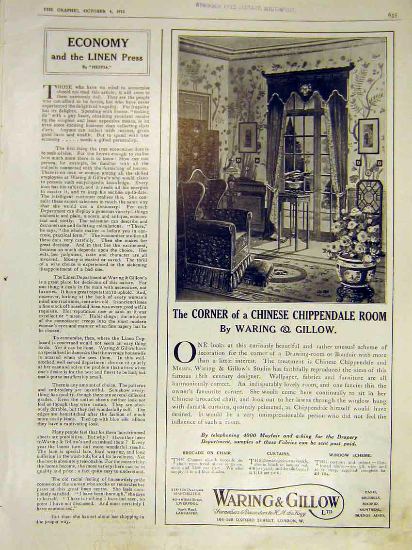 Print Economy Linen Press Hestia Advert Waring Gillow 1913 35Ddd0 Old Original