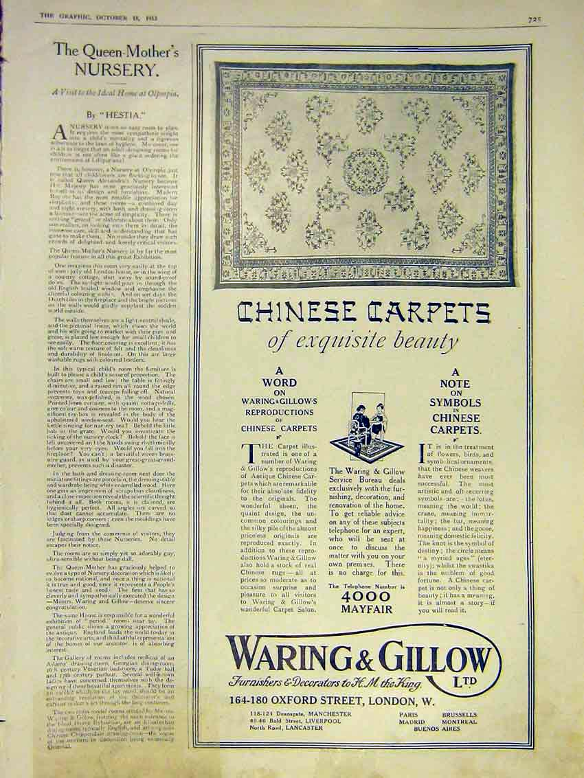 Print Queen Mother Nursery Olympia Advert Waring Gillow 1913 25Ddd0 Old Original
