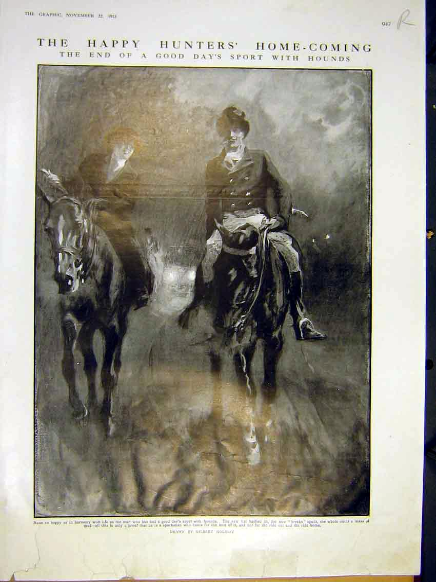 Print Hunters Home-Coming Horse Play Theatre Sun Comedy 1913 47Rddd0 Old Original