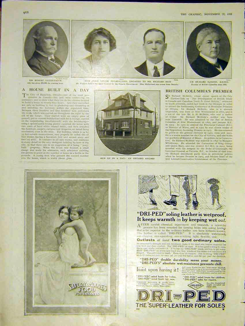 Print House Built Day Record Mulholland Reid Marriage 1913 68Ddd0 Old Original