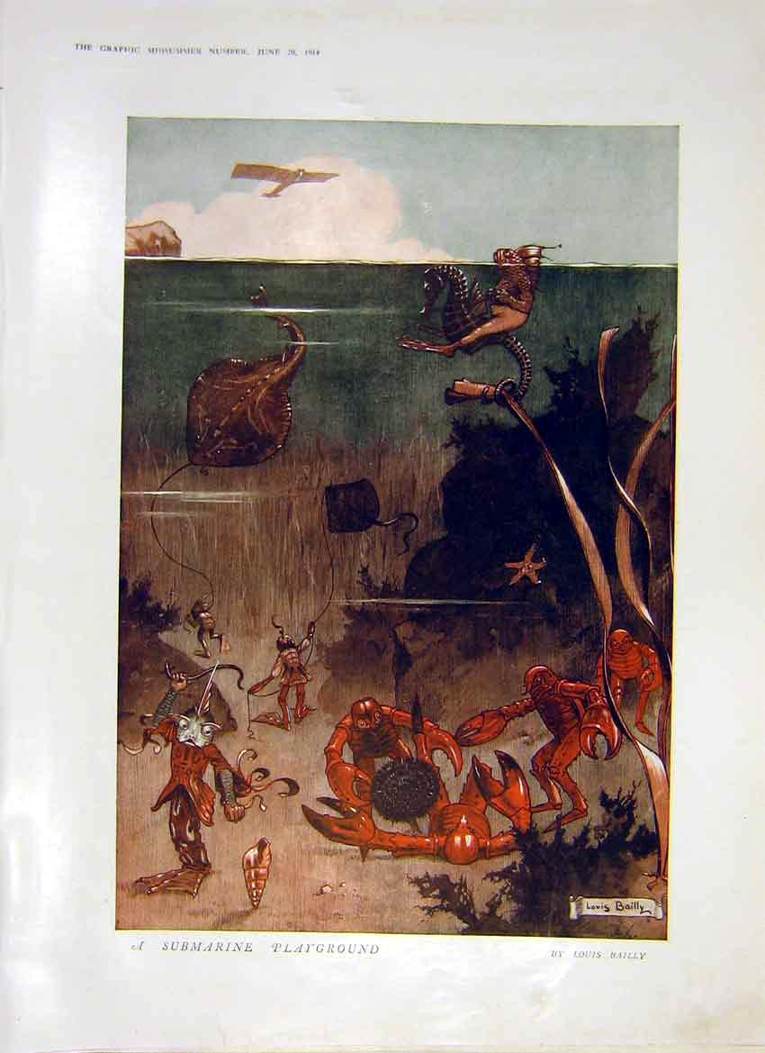 Print Cartoon Submarine Playground Bailly 1914 01Ddd0 Old Original