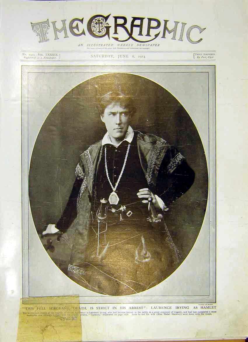 Print Portrait Laurence Irving Hamlet Actor 1914 05Ddd0 Old Original