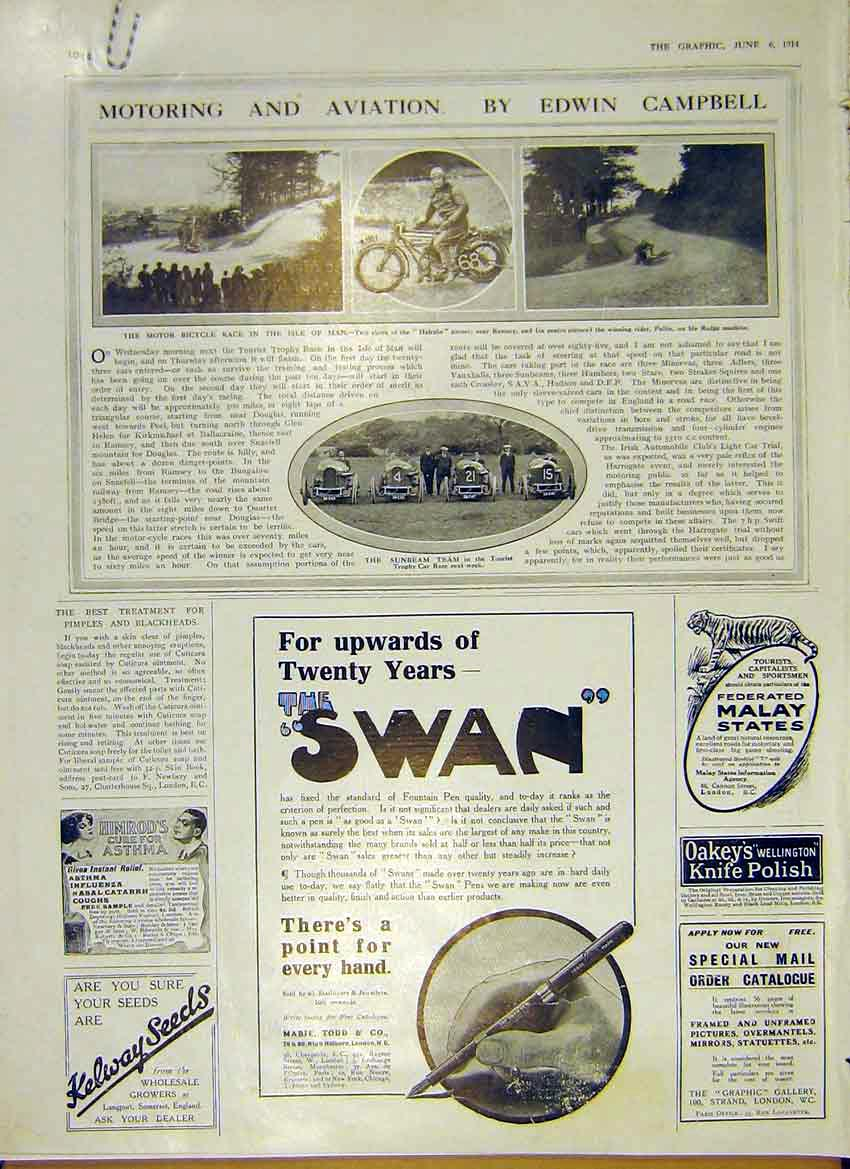 Print Motor Car Bicycle Race Isle Man Sunbeam Team 1914 44Addd0 Old Original