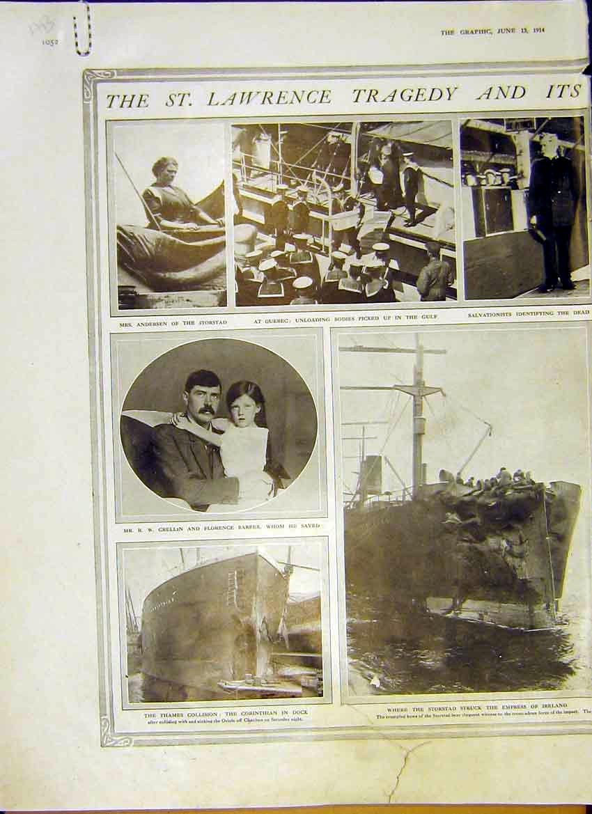 Print St. Lawrence Tragedy Thames Grant Surgeon Quebec 1914 52Addd0 Old Original