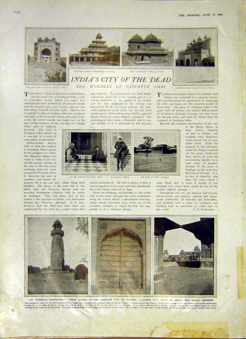 Print India City Dead Fatehpur Sikri Birbal Mahal 1914 76Ddd0 Old Original