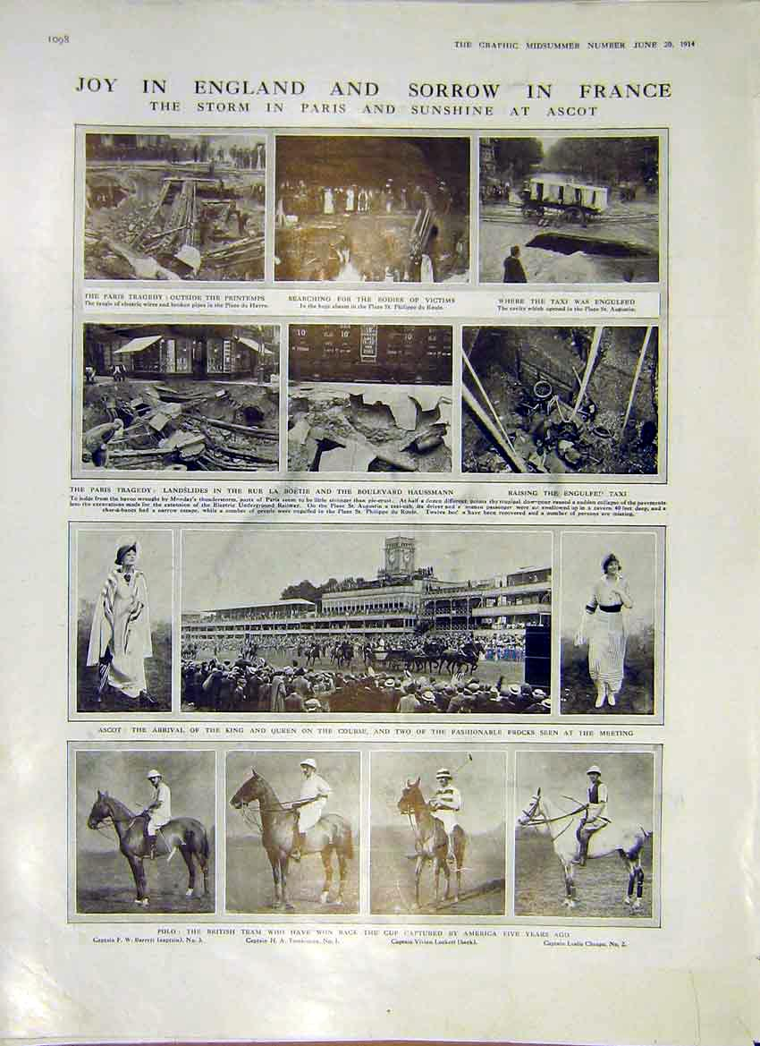 Print Polo Horse Paris Ascot Team Royals Tragedy Race 1914 98Ddd0 Old Original