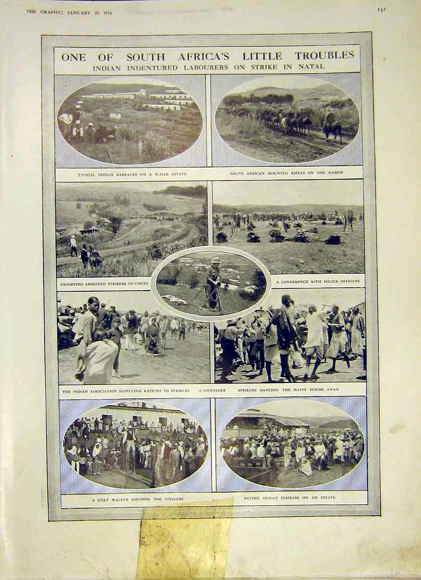 Print Africa Indian Labour Strike Natal Barracks 1914 41Ddd0 Old Original