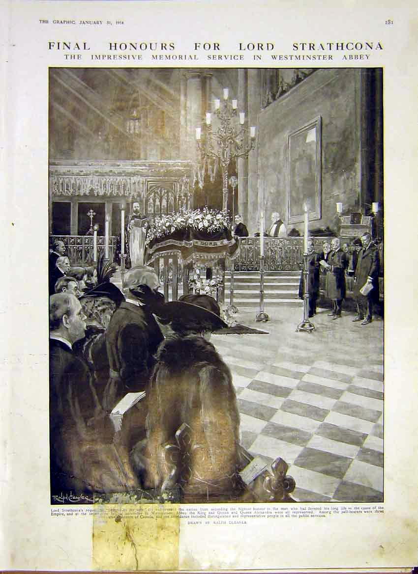 [Print Lord Strathcona Honours Westminster Abbey 1914 81Ddd0 Old Original]