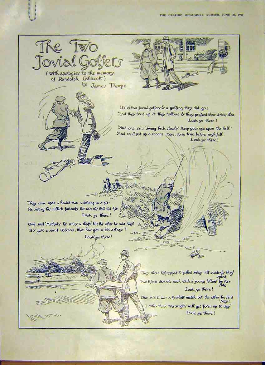 Print Cartoons Two Jovial Golfers Story Comic-Strip 1914 99Addd0 Old Original