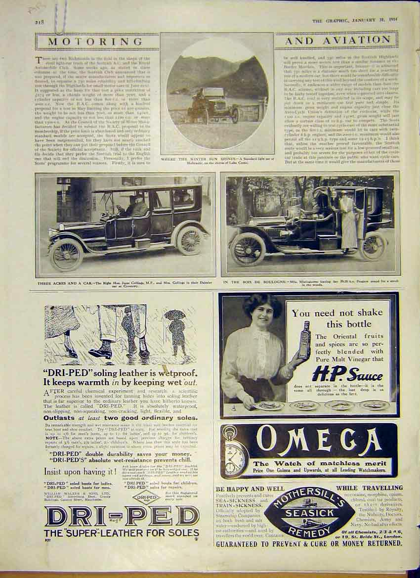 Print Motor Car Advert Daimler Peugeot Rolls-Royce 1914 18Addd0 Old Original