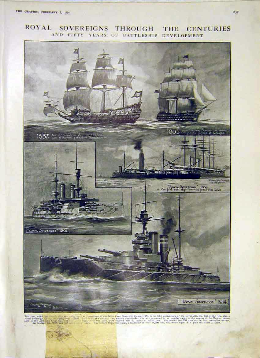 Print Royal Battleship Development 1637 1805 1891 1864 1914 37Ddd0 Old Original