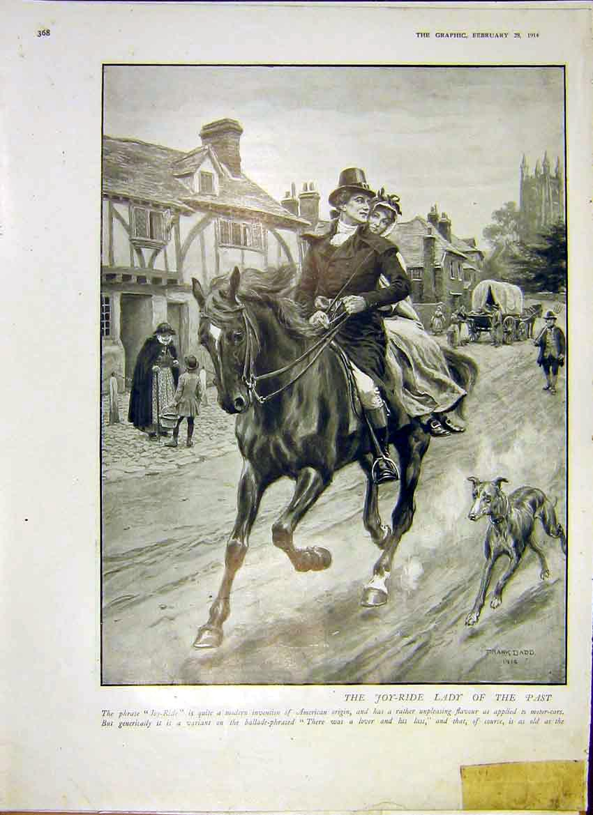 Print Joy-Ride Horse Dadd Paainting American Origin 1914 68Ddd0 Old Original