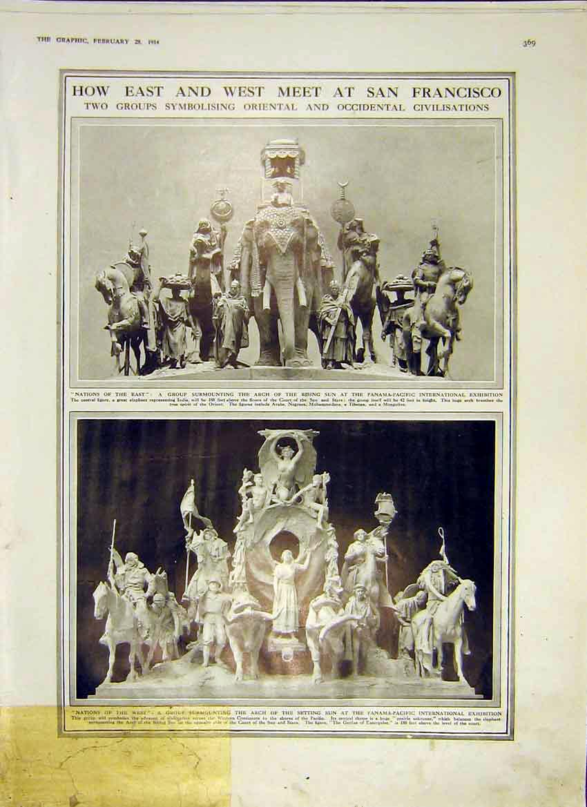 Print San Francisco Exhibition East West Nations Figures 1914 69Ddd0 Old Original