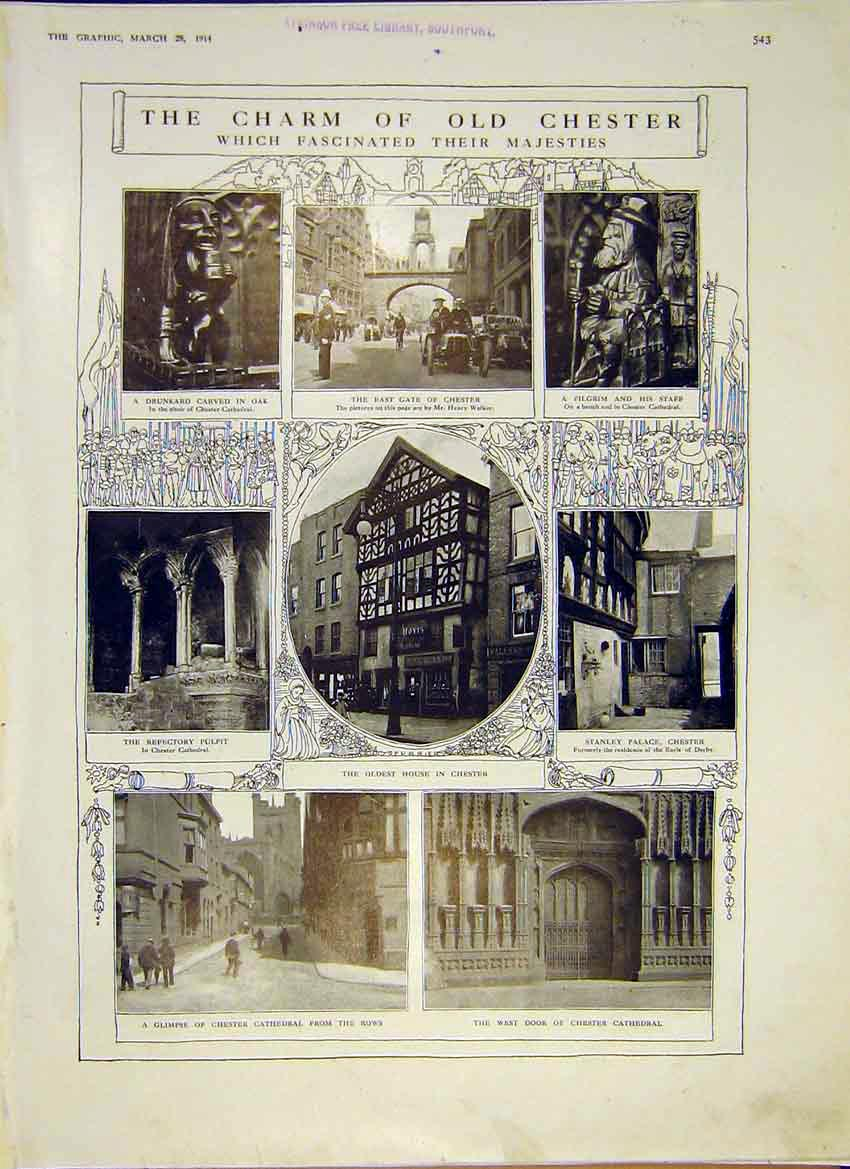 [Print Chester Charm East Gate Cathedral Oldest Palace 1914 43Ddd0 Old Original]
