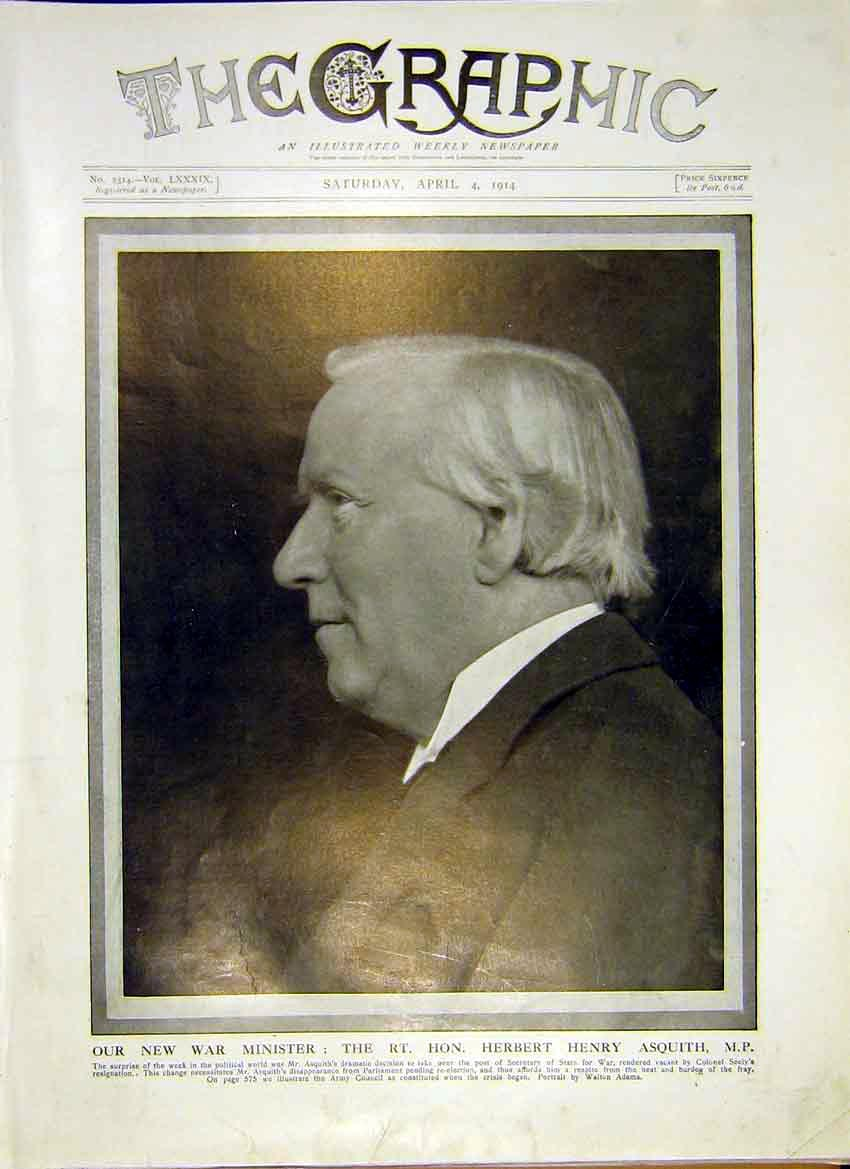 [Print Portrait War Minister Asquith Mp 1914 66Ddd0 Old Original]