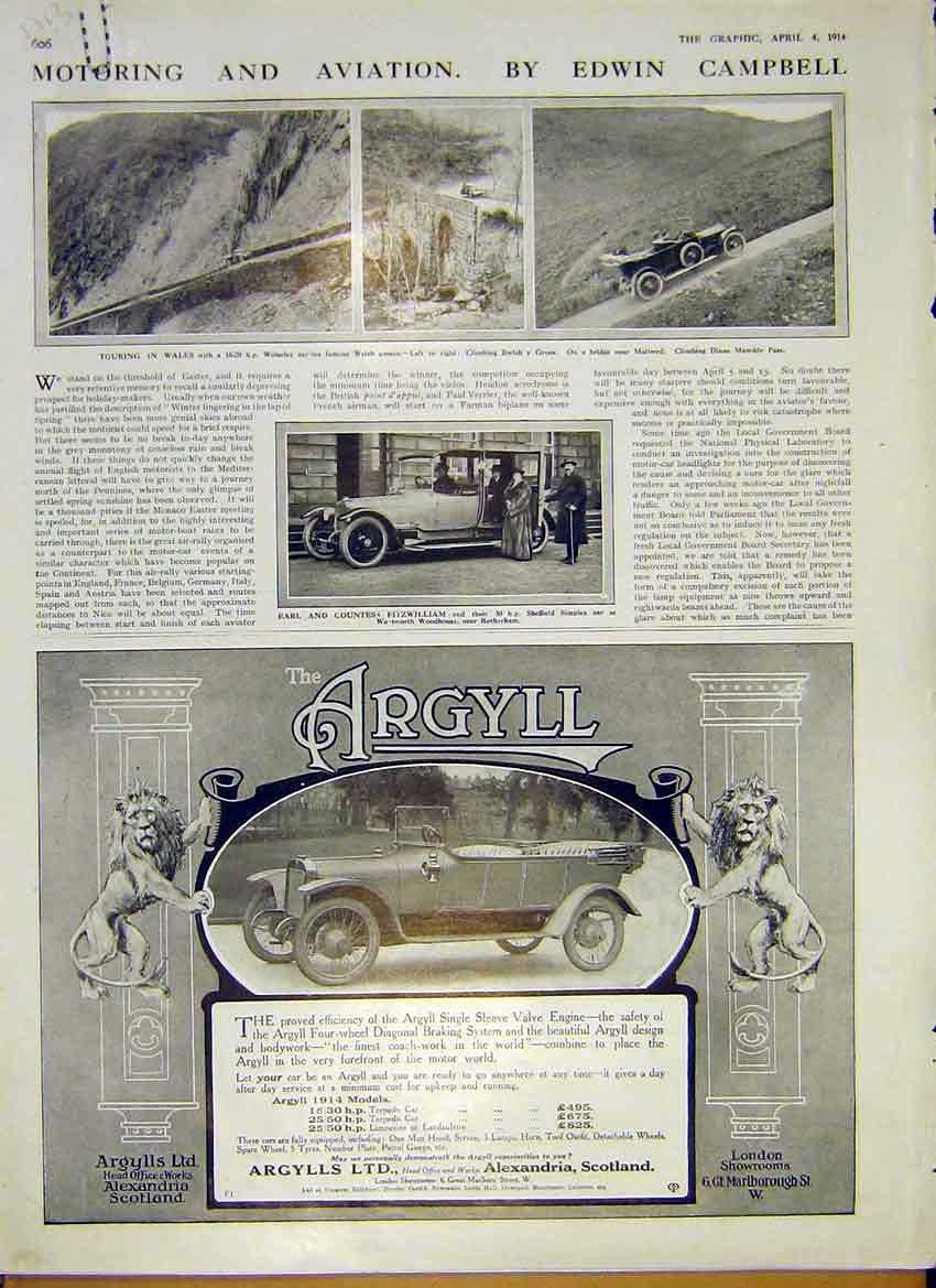 Print Motor Car Argyll Wolseley Wales Sunbeam Talbot 1914 06Addd0 Old Original