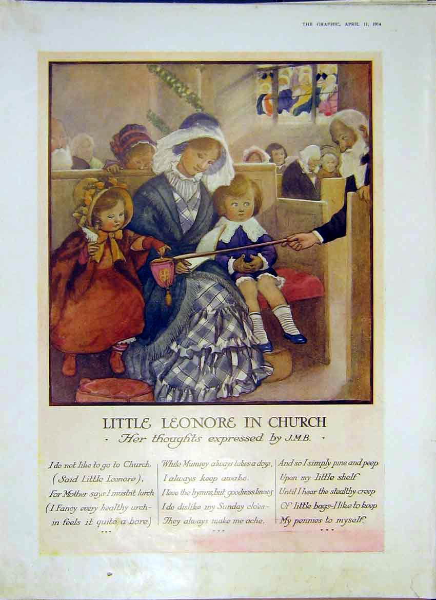Print Leonore Church J.M.B. Poem Thoughts Drawing 1914 23Ddd0 Old Original