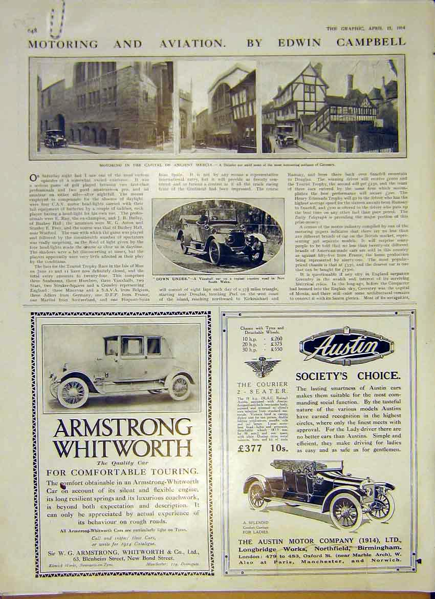Print Motor Car Armstrong Daimler Coventry Hopmobile 1914 48Addd0 Old Original