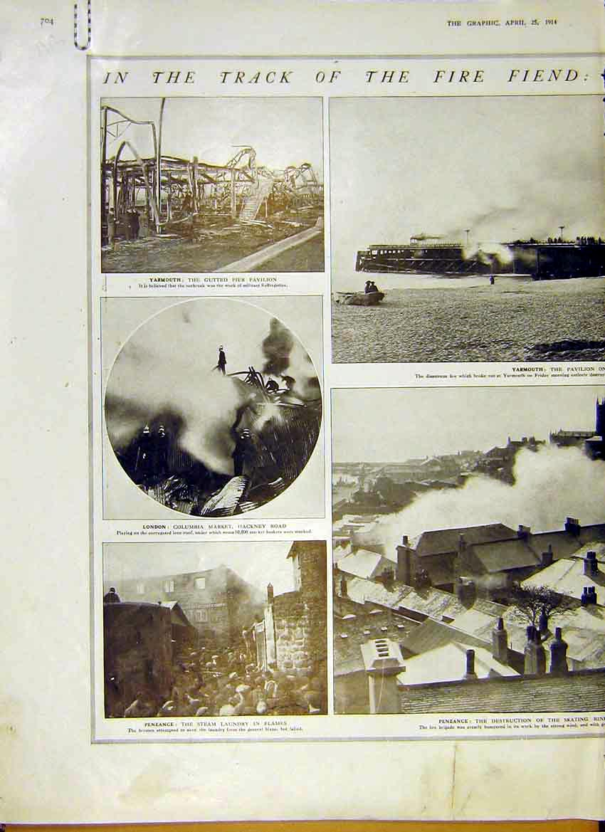 [Print Photos Fires Yarmouth London Penzence Kingston 1914 04Addd0 Old Original]