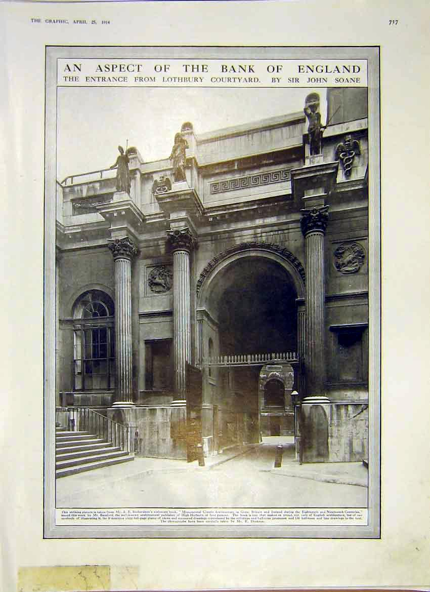 Print Bank England Entrance Lothbury Courtyard 1914 17Ddd0 Old Original