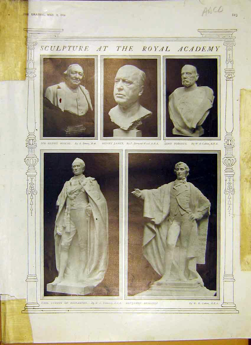 Print Sculpture Royal Academy Paintings Pictures 1914 23Addd0 Old Original