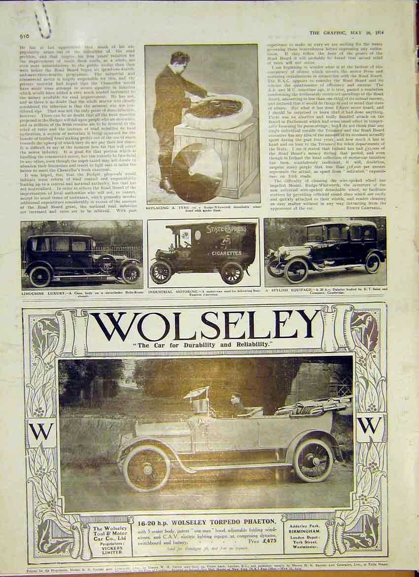 Print Motor Car Wolseley Rolls-Royce Daimler Industrial 1914 10Addd0 Old Original