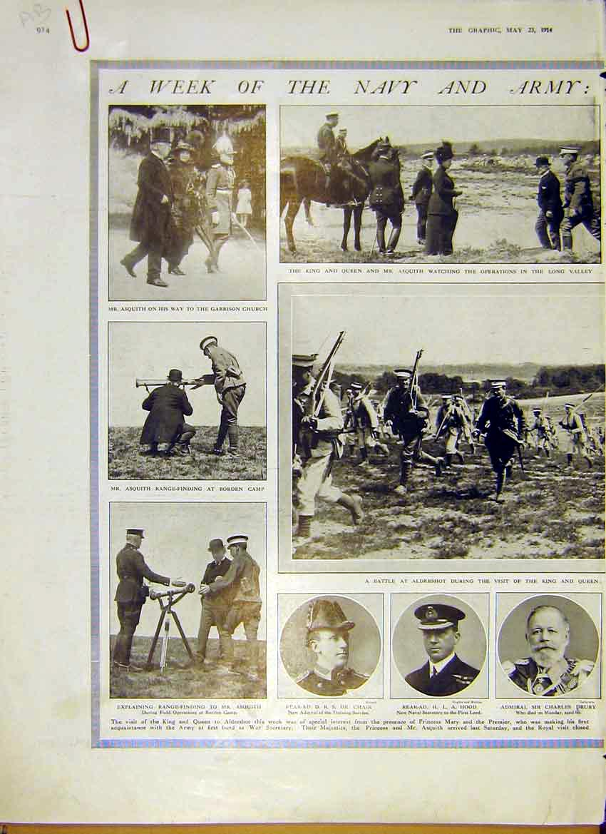 Print Navy Army Royal Visit Aldershot Portraits Asquith 1914 14Addd0 Old Original