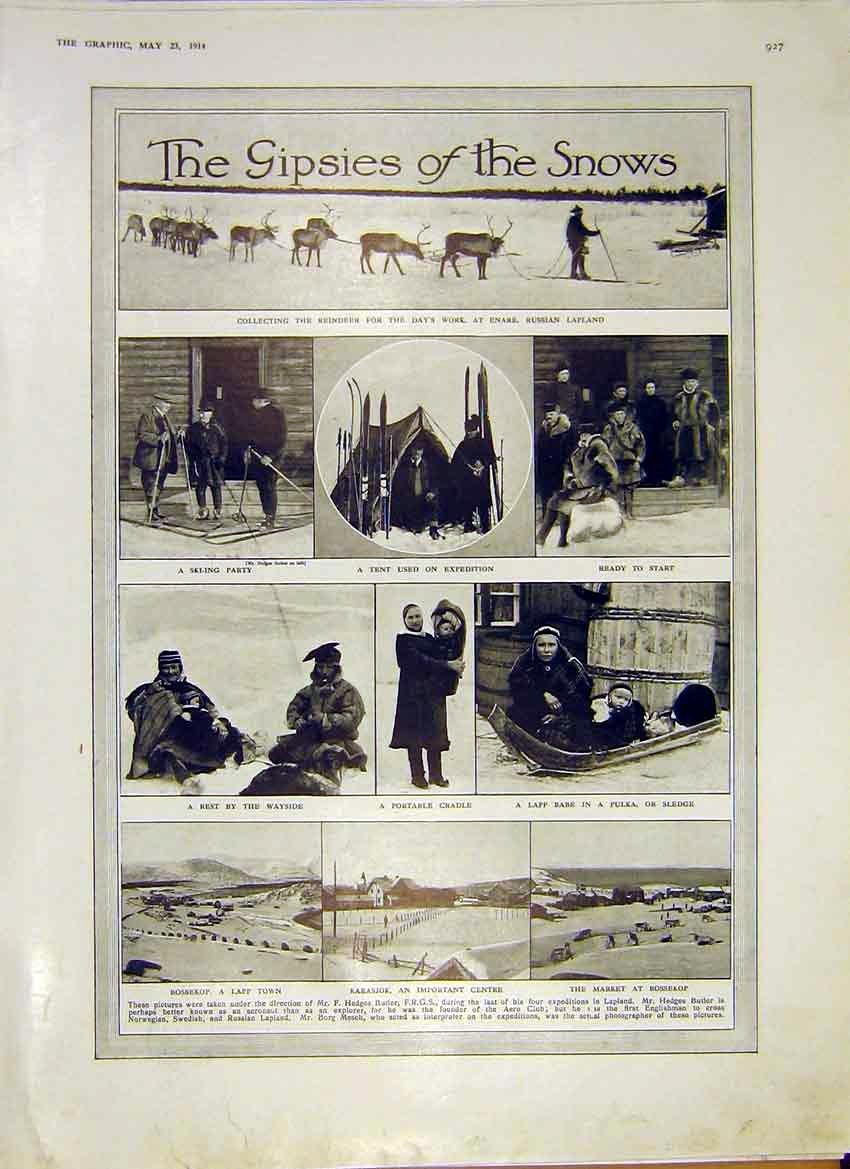 Print Gypsies Snows Reindeer Enare Russian Lapland 1914 27Ddd0 Old Original