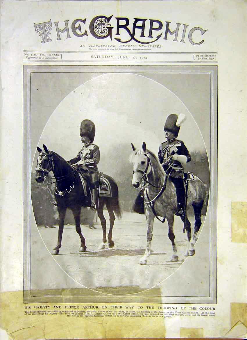 Print King Prince Arthur Trooping Colour Horse Royal 1914 84Ddd0 Old Original
