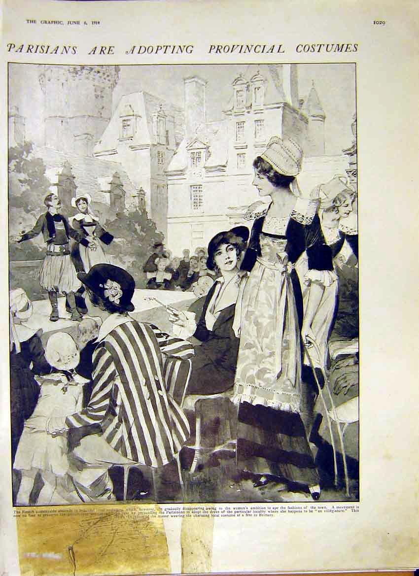 Print Parisian Provincial Costume French Women 1914 95Ddd0 Old Original