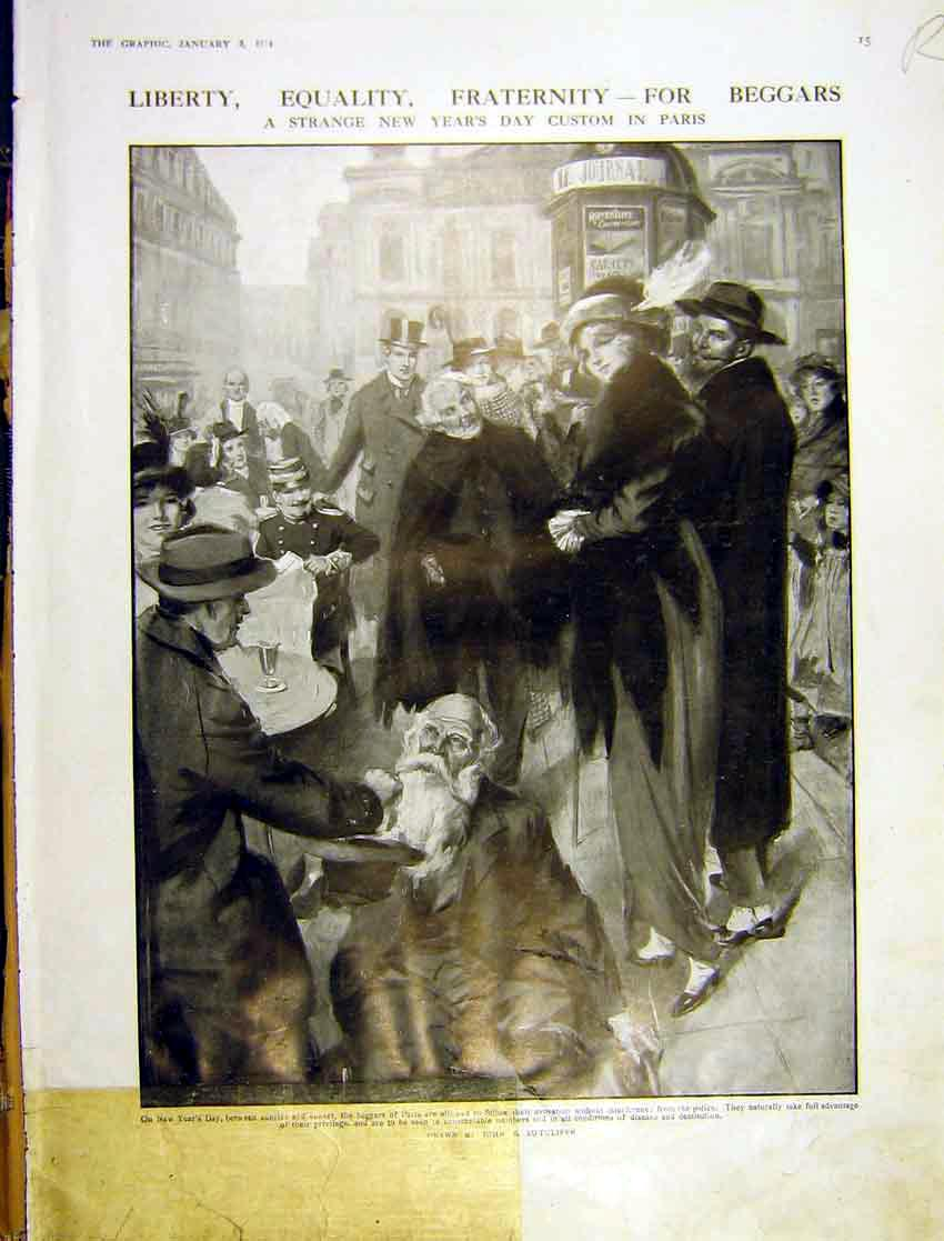 Print Beggar Painting Custom Paris New-Year Bengal Girl 1914 015Rddd0 Old Original