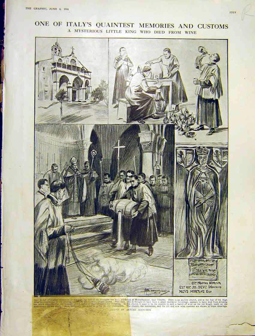 Print Italy Customs Priest Church House-Fly Life History 1914 021Rddd0 Old Original