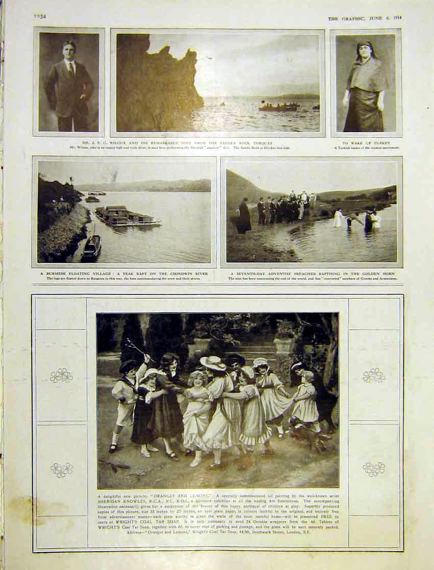 Print Saddle Rock Dive Torquay Burmese Floating Village 1914 034Ddd0 Old Original