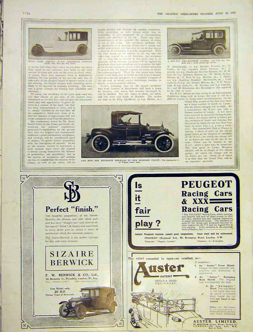 Print Motor Car Sheffield Simplex Bedford Talbot 1914 154Ddd0 Old Original