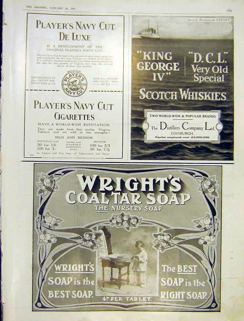 Print Adverts Players Wrights Coal Tar Soap Distillers 1914 169Ddd0 Old Original