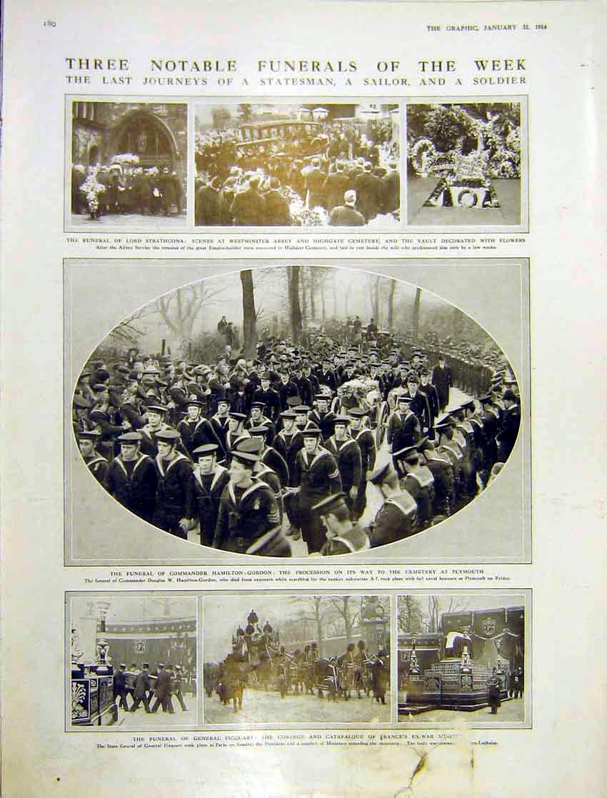 Print Funeral Statesman Sailor Soldier Strathcona 1914 180Ddd0 Old Original