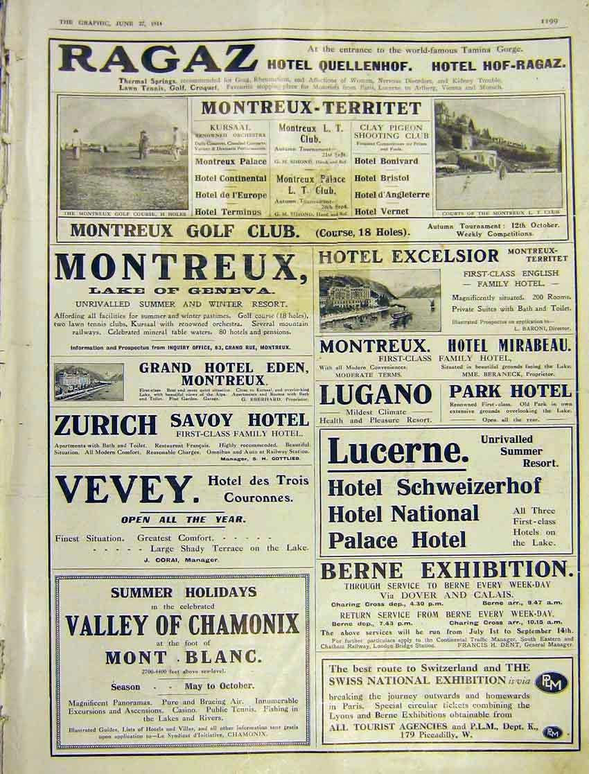 Print Adverts Ragaz Hotel Montreux-Territet Vevy Palace 1914 199Ddd0 Old Original