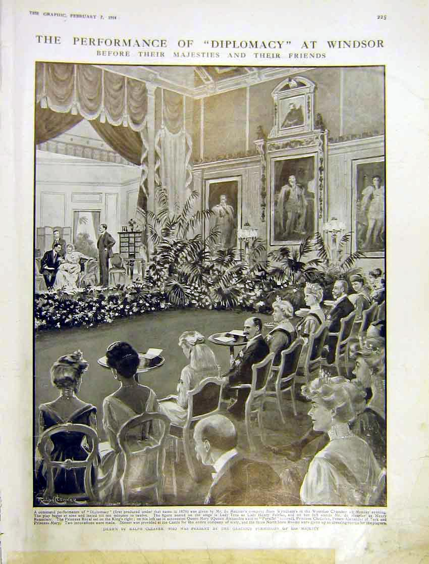 Print Performance Diplomacy Windsor Castle Royal Play 1914 225Ddd0 Old Original