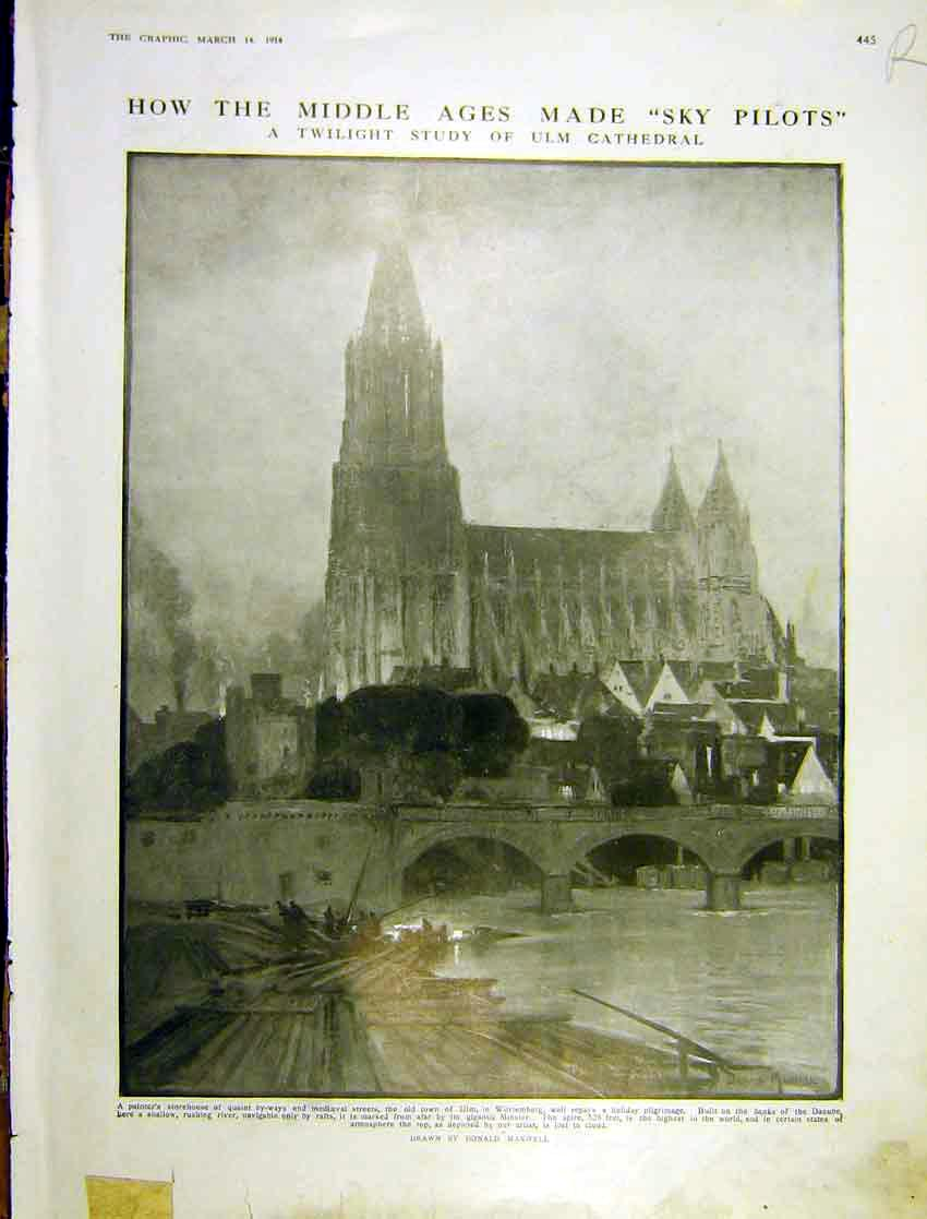 Print Ulm Cathedral Twilight Study Portrait Lady Pitti 1914 445Rddd0 Old Original