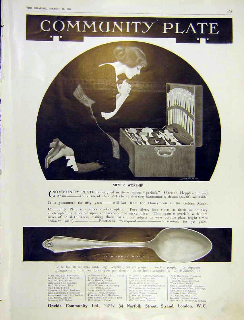 Print Advert Silver Community Plate Oneida Ltd Service 1914 463Ddd0 Old Original