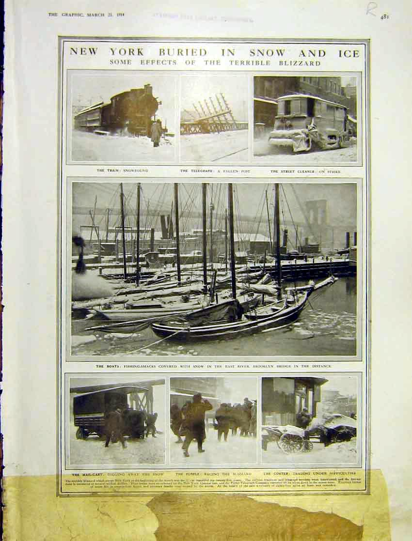 Print New York Snow Boats Rail Map India Gateway 1914 481Rddd0 Old Original