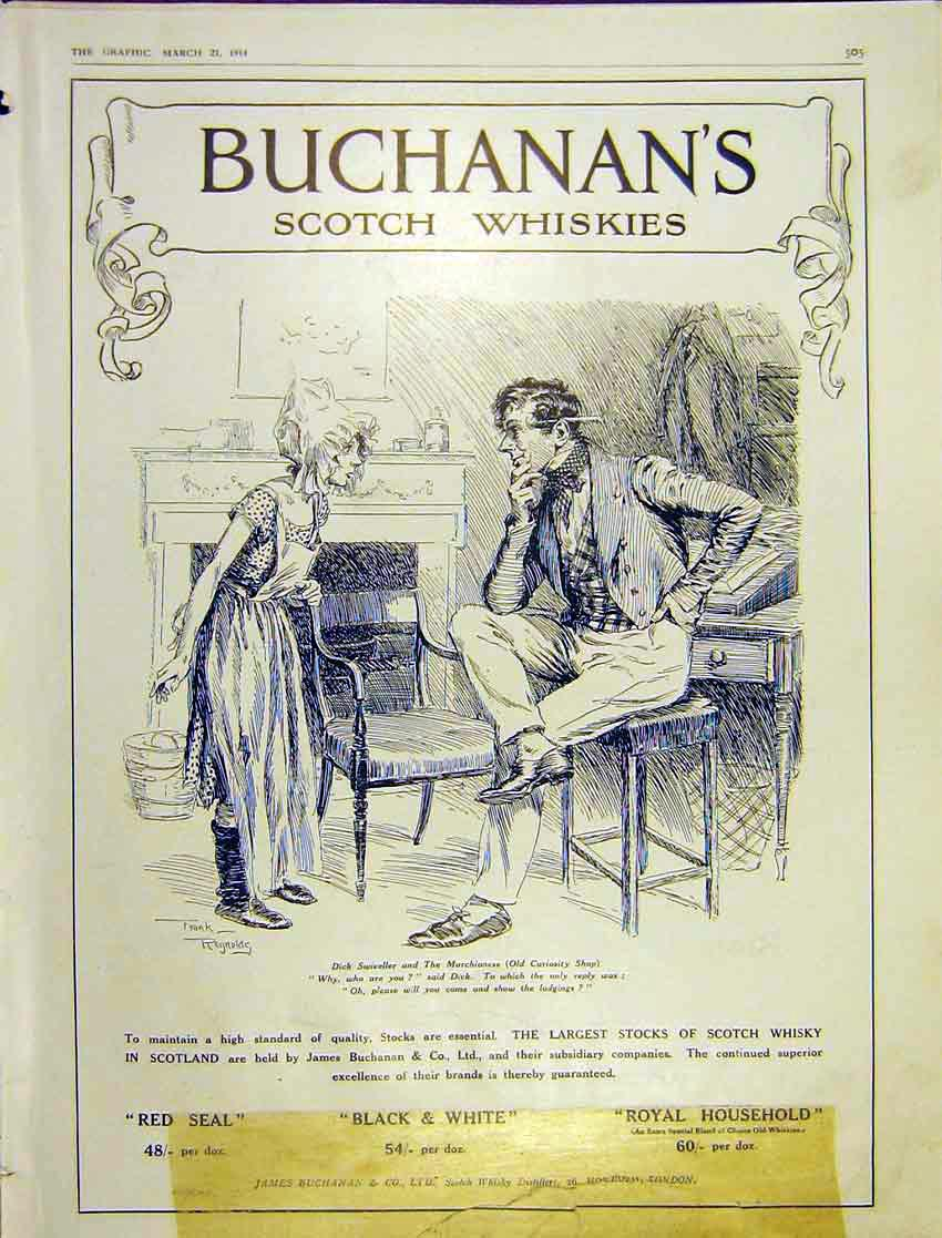 Print Advert Buchanan Whisky Swiveller Marchioness 1914 505Ddd0 Old Original