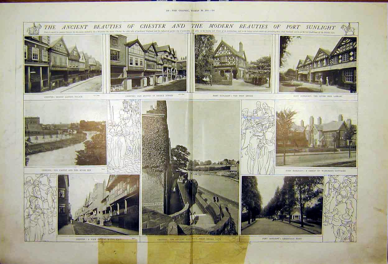Print Chester Scenery Port Buildings Wall Castle 1914 539Tddd0 Old Original