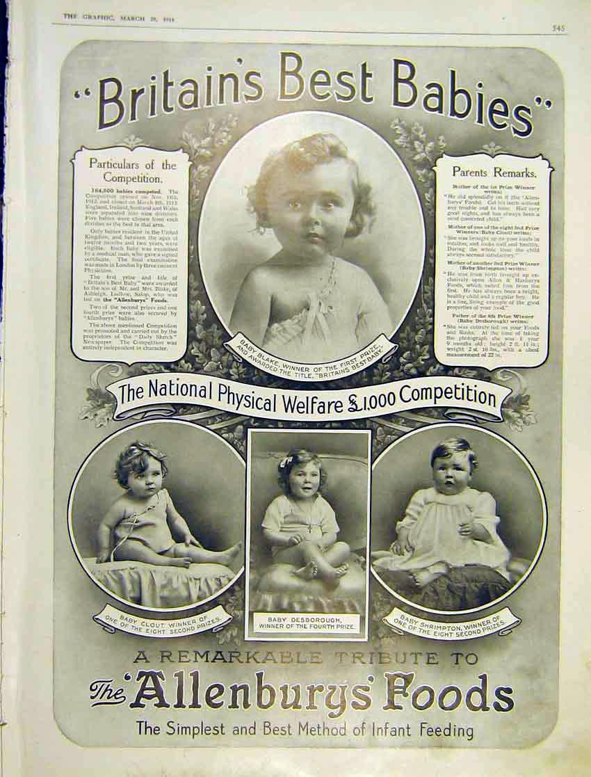 Print Advert Allenbury'S Foods Babies Competition 1914 545Ddd0 Old Original