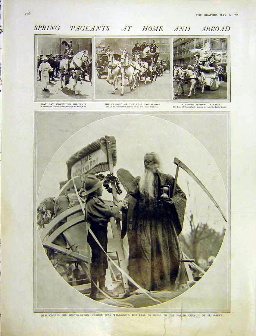 Print Spring Pageant May-Day Southampton Coaching 1914 796Ddd0 Old Original