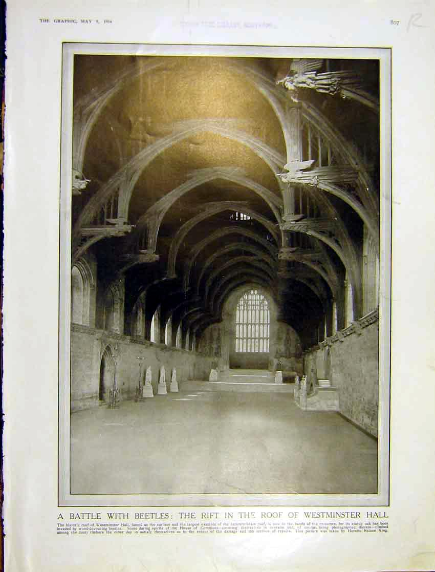 Print Westminster Hall Map Restoration British Museum 1914 807Rddd0 Old Original