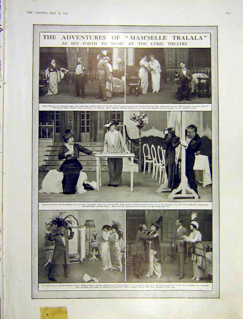 Print Adventure Tralala Play Musical Lyric Theatre 1914 831Ddd0 Old Original