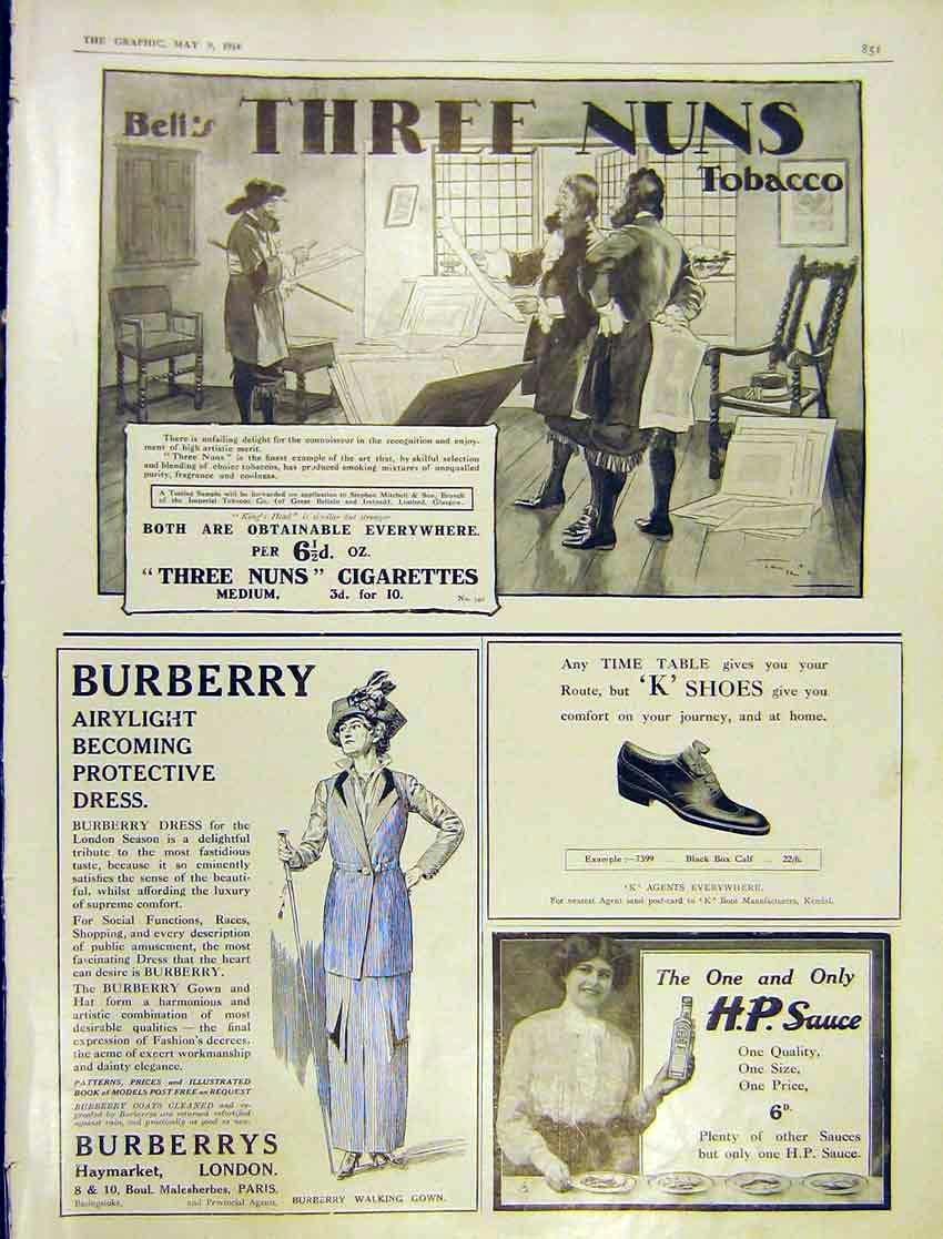 Print Advert Three Nuns Tobacco Burberry Dress H.P. 1914 851Ddd0 Old Original