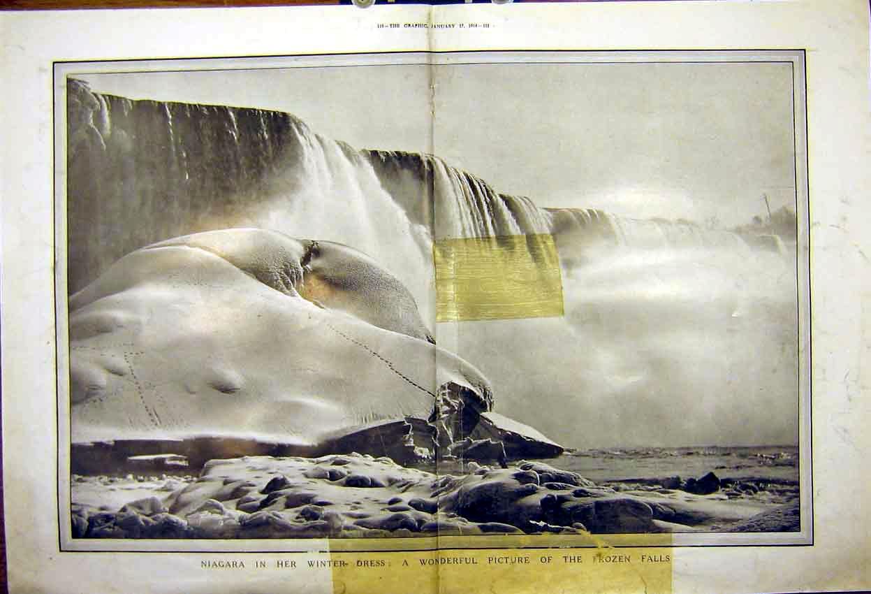 Print Niagara Falls Winter Frozen Water River 1914 909Tddd0 Old Original