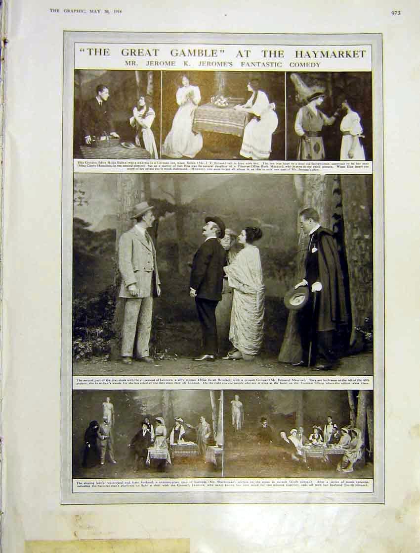 Print Great Gamble Hatmarket Theatre Play Actors Jerome 1914 973Ddd0 Old Original